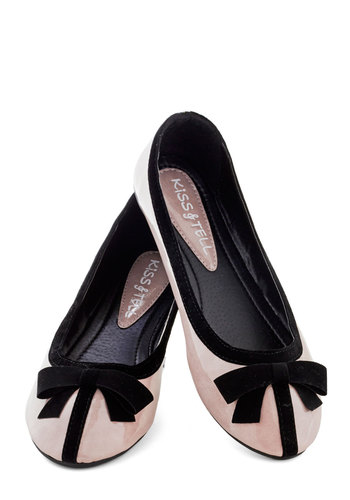 Sophisticated Socialite Flat - Pink, Black, Bows, Flat, Faux Leather, Solid, Work, Daytime Party