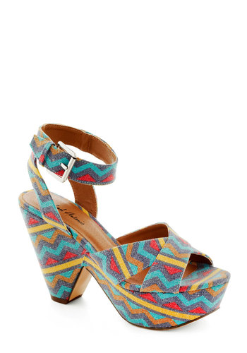 Chevron Your Way Heel - Print, High, Multi, Chevron, Cutout, Party, Girls Night Out, Summer, Platform, Peep Toe