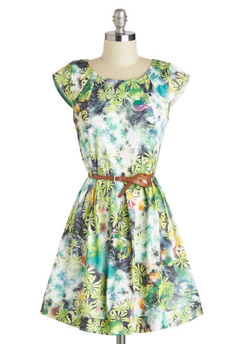 Bubbly Bouquet Dress - Multi, Floral, Belted, Casual, Cap Sleeves, Mid-length, Green, Fit & Flare