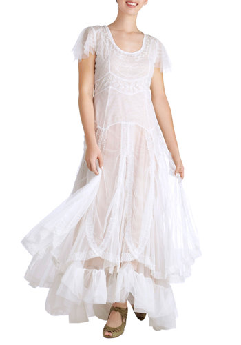 Fairy Important Date Dress in White - Long, White, Solid, Embroidery, Ruffles, Bride, Cap Sleeves, Scoop, Variation, Tiered, Vintage Inspired, Fairytale, Maxi, Wedding
