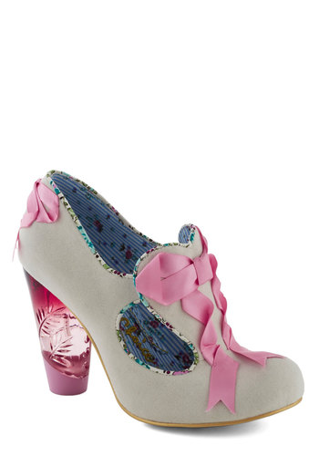 What Really Makes You Romantic Heel by Irregular Choice - Cream, Pink, Solid, Bows, Cutout, Trim, Mid, Party, Girls Night Out, Fairytale, Daytime Party, Wedding