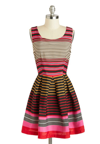 Sunrise Drive Dress - Mid-length, Multi, Red, Yellow, Pink, Black, White, Stripes, Pleats, Party, A-line, Sleeveless, Scoop, Daytime Party, Summer