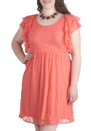 Best Friend Bash Dress in Plus Size - Coral, Solid, Lace, Ruffles, Party, Cap Sleeves, Scoop, Daytime Party, A-line, Spring, Summer, Exclusives