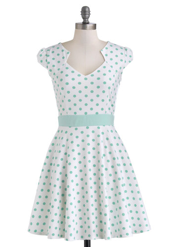 The Story of Citrus Dress in Mint - Mid-length, Mint, Polka Dots, Casual, A-line, Cap Sleeves, Pastel, White