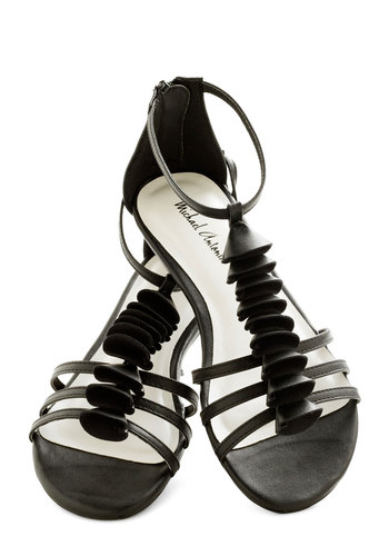 Belle Canto Sandal - Black, Solid, Cutout, Tiered, Strappy, Flat, Faux Leather, Summer