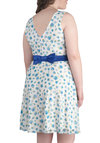 An Evening With Buds Dress in Plus Size - Blue, White, Floral, Bows, Daytime Party, A-line, Sleeveless, Spring, Scoop