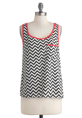Along the Trails Top - Sheer, Mid-length, Red, Black, White, Chevron, Pockets, Casual, Tank top (2 thick straps), Cutout, Scoop, Summer, Travel