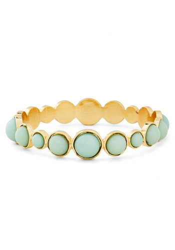 Circle Back Bracelet - Mint, Gold, Solid, Beads, Luxe, Pastel, 60s, Gold