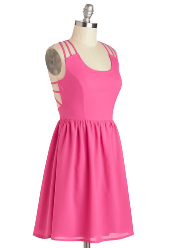 Feeling Haute, Haute, Haute Dress - Mid-length, Pink, Solid, Cutout, Casual, A-line, Racerback, Scoop, Summer