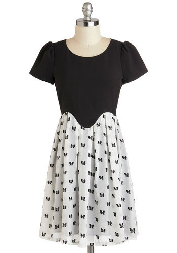 Lots to Ladylike Dress - Black, White, Novelty Print, Backless, Party, Twofer, Short Sleeves, Scoop, 80s, Mid-length