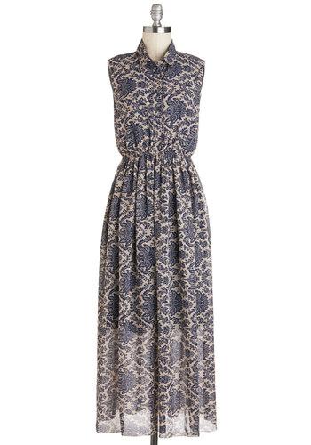 Office and Running Dress - Blue, Tan / Cream, Print, Buttons, Casual, Maxi, Sleeveless, Collared, Beach/Resort, Summer, Long