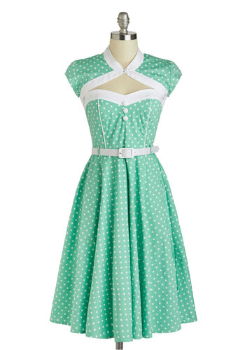 Soda Shop Sweetie Dress - Cotton, Long, Mint, White, Polka Dots, Buttons, Cutout, Belted, Casual, Vintage Inspired, A-line, Cap Sleeves, Daytime Party, 50s, Pastel, Spring, 60s