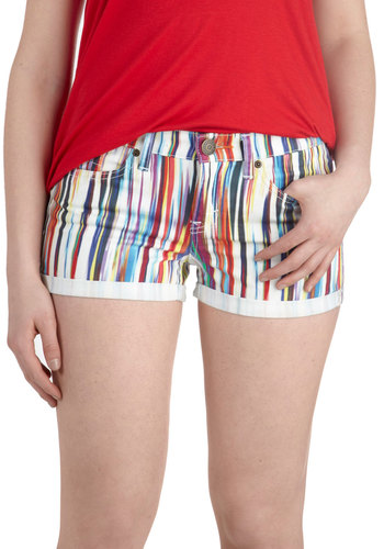 An Air of Style Shorts in Rainbow by Dittos - Multi, Pockets, Casual, Denim, Cotton, Red, Yellow, Blue, White, Print, Summer