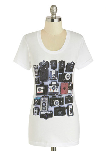 Stop, Drop, and Photo Op Tee by MNKR - Mid-length, Cotton, White, Red, Black, Casual, Short Sleeves, Novelty Print, Jersey, Scoop, Travel, White, Short Sleeve