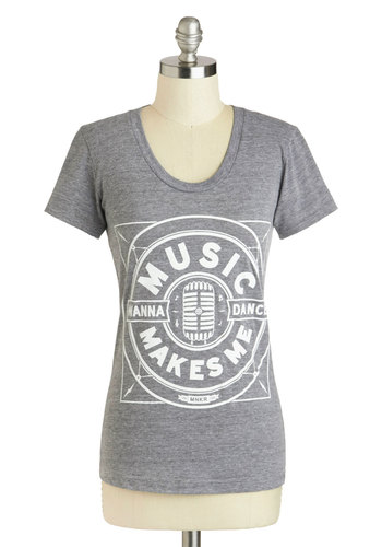 I Came to Dance Tee by MNKR - Mid-length, Grey, White, Casual, Short Sleeves, Music, Travel, Grey, Short Sleeve, Gifts Sale