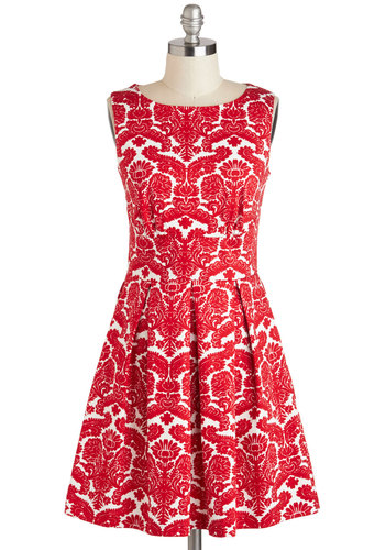Ain't We Haute Fun? Dress in Floral Flourish by Closet - Red, White, Print, Cutout, Exposed zipper, Pleats, Pockets, Party, Sleeveless, Boat, Mid-length, Fit & Flare