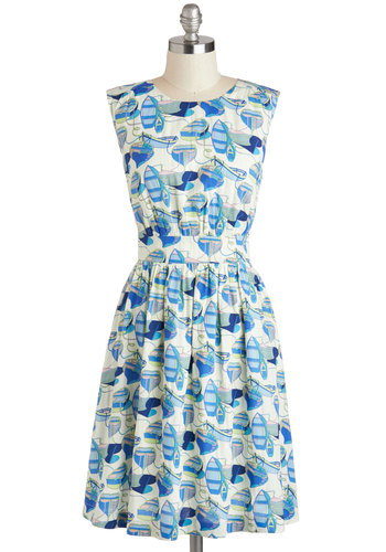 Too Much Fun Dress in Boats by Emily and Fin - Blue, White, Novelty Print, Pockets, Casual, Nautical, A-line, Sleeveless, Variation, Beach/Resort, Summer, Mid-length, Basic