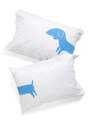 Fetch Some Shuteye Pillowcase Set by Kin Ship - White, Blue, Print with Animals, Novelty Print, Quirky, Cotton, Good, Top Rated