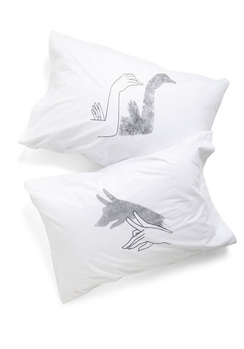 Shadows Off to Dreamland Pillowcase Set by Kin Ship - White, Black, Cotton, Quirky, Exclusives, Good