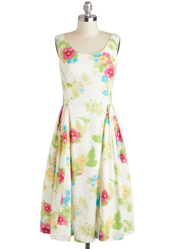 Classy Reunion Dress by Emily and Fin - Exclusives, Floral, Daytime Party, Graduation, A-line, Tank top (2 thick straps), Spring, Scoop, Pleats, Vintage Inspired, Cotton, Long, Pink, White, Green, Multi