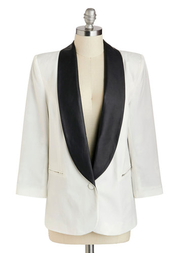 Tux Be a Lady Blazer - Faux Leather, Mid-length, White, Black, Solid, Work, Menswear Inspired, Long Sleeve, Party, Urban