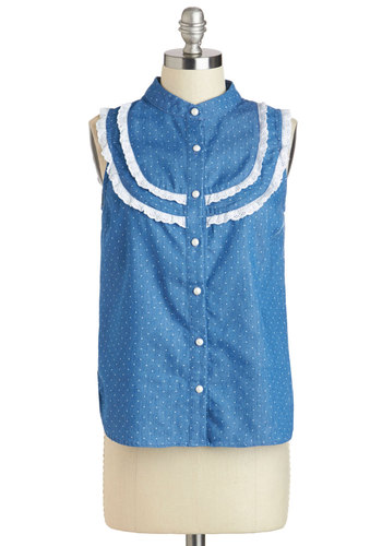 Near and Farm Top - Blue, White, Polka Dots, Buttons, Eyelet, Vintage Inspired, Sleeveless, Mid-length, Casual, Rustic, Button Down, Summer