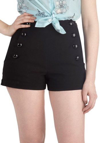 Play by Playful Shorts - Black, Solid, Buttons, Casual, Pinup, Vintage Inspired, 30s, 40s, 50s, High Waist, Summer, Good, Black, Non-Denim, Short, Beach/Resort, Nautical, Spring, Ultra High Rise