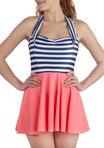 Playa Dress Up Two Piece Swim Dress - Multi, Blue, White, Solid, Stripes, Beach/Resort, Nautical, 40s, 50s, Halter, Summer, Coral, Rockabilly, Pinup, Vintage Inspired, 30s, Sweetheart