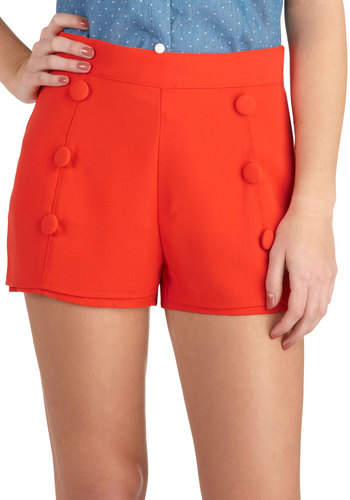 Ready or Nautical Shorts - Red, Solid, Buttons, Beach/Resort, Nautical, Short, Summer, High Waist