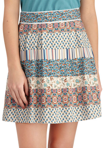 La Vie Femme Skirt - Multi, Blue, Print, Belted, A-line, Short, Tan / Cream, Floral, Casual, Boho, Vintage Inspired, 70s, Summer