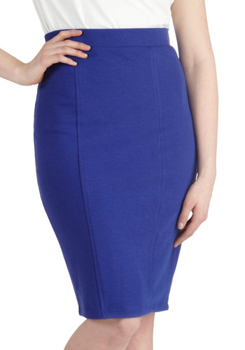 Style Essential Skirt in Blue - Blue, Solid, Work, Minimal, Long, Jersey, Basic, Girls Night Out, Pencil, Blue