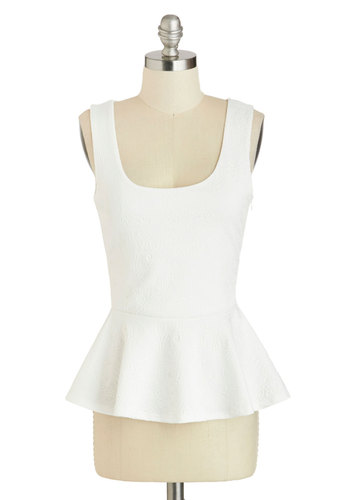 Tulip Time Top - White, Solid, Work, Daytime Party, Peplum, Sleeveless, Summer, Mid-length