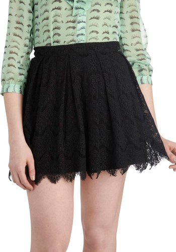 Nocturnal Yourself Out Skirt - Black, Solid, Lace, Party, Mini, Black, Short