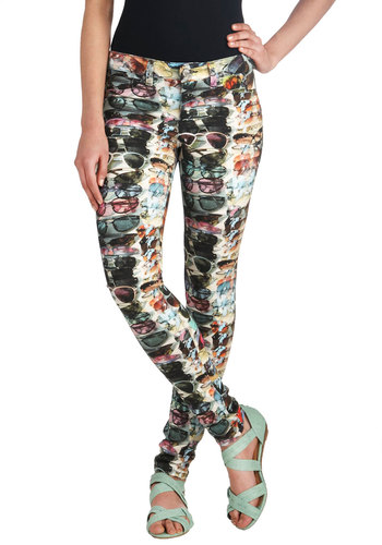 Ocular Opinion Jeans - Multi, Green, Blue, Purple, Pink, Brown, Black, Novelty Print, Skinny, Denim, Pockets, Urban, Statement