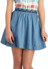 Trail of Friends Skirt - Blue, Solid, Casual, A-line, Mini, Short, Boho, Summer