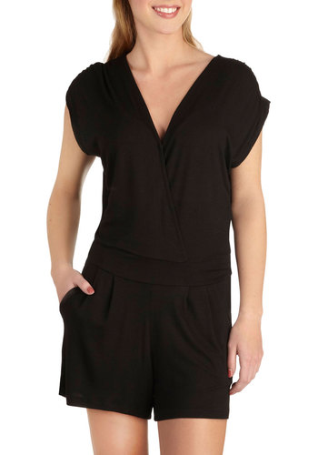 Suitcase Essential Romper - Jersey, Long, Black, Solid, Pockets, Casual, Beach/Resort, Minimal, Summer, Travel, Good, Best Seller, Black