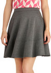 A Fashionable Habit Skirt - Grey, Solid, Work, Fit & Flare, Short, Winter
