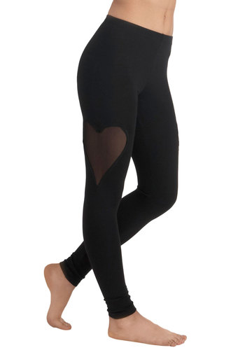 Heart Hopscotched a Beat Leggings - Black, Solid, Cutout, Casual, Skinny, Cotton, Sheer, Vintage Inspired, 90s, Fall