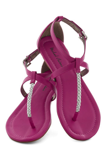 Sunset Sonnets Sandal - Flat, Faux Leather, Pink, Silver, Braided, Beach/Resort, Summer