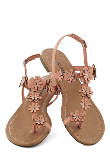 Garden Garland Sandal in Peach - Tan, Flower, Beach/Resort, Fairytale, Summer, Flat, Solid, Casual, Daytime Party, Pastel, Faux Leather, Variation
