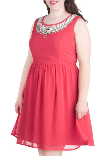 It's All in the Details Dress in Coral - Plus Size - Coral, Solid, Beads, Pearls, Rhinestones, Wedding, Party, A-line, Sleeveless, Variation, Scoop