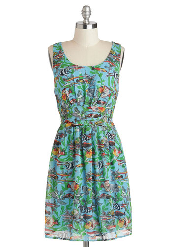 Nikki's Lifestyle Aquatic Dress - Mid-length, Multi, Green, Blue, Print with Animals, Casual, Nautical, A-line, Tank top (2 thick straps), Scoop