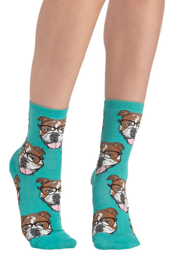 Wearable Whimsy Socks in Teal Bulldogs - Blue, Multi, Print with Animals, Quirky, Knit