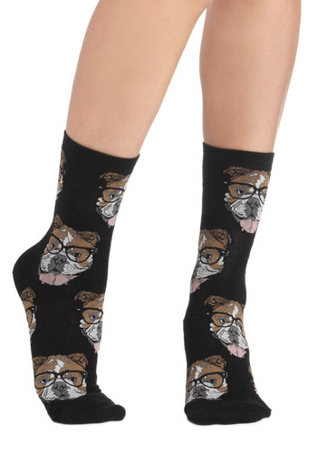 Wearable Whimsy Socks in Black Bulldogs - Black, Multi, Print with Animals, Quirky