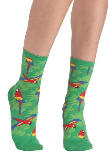 Wearable Whimsy Socks in Parrots - Green, Multi, Print with Animals, Variation