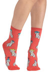 Wearable Whimsy Socks in Kittens - Coral, Multi, Print with Animals, Quirky, Novelty Print, Kawaii, Cats