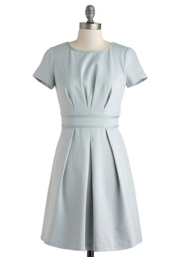 On the Same Sage Dress - Mid-length, Blue, Solid, Work, Pastel, Minimal, A-line, Short Sleeves, Crew