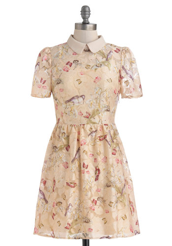Favorite Train Car Dress - Sheer, Short, Cream, Multi, Lace, Casual, Pastel, A-line, Short Sleeves, Collared, Floral, Print with Animals, Fairytale, Spring, Summer, Lace