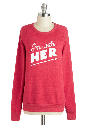 Rachel Antonoff The Buddy System Sweatshirt - Red, Casual, Long Sleeve, Mid-length, White, Crew, Travel, Sweatshirt