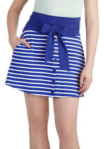 Hometown Tour Skirt by Tulle Clothing - Blue, White, Stripes, Buttons, A-line, Cotton, Short, Pockets, Belted, Casual, Nautical, Summer